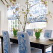Cool blue and white dining room