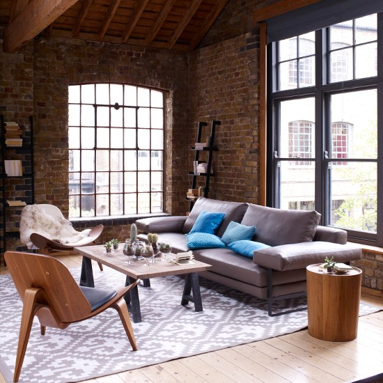 Leather and wood living room | Contemporary country decorating ideas | Livingetc | Housetohome