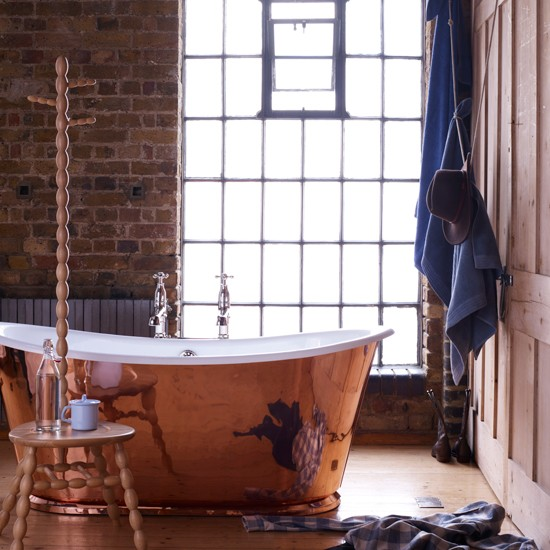 Rustic bathroom with copper bathtub | Contemporary country decorating ideas | Livingetc | Housetohome