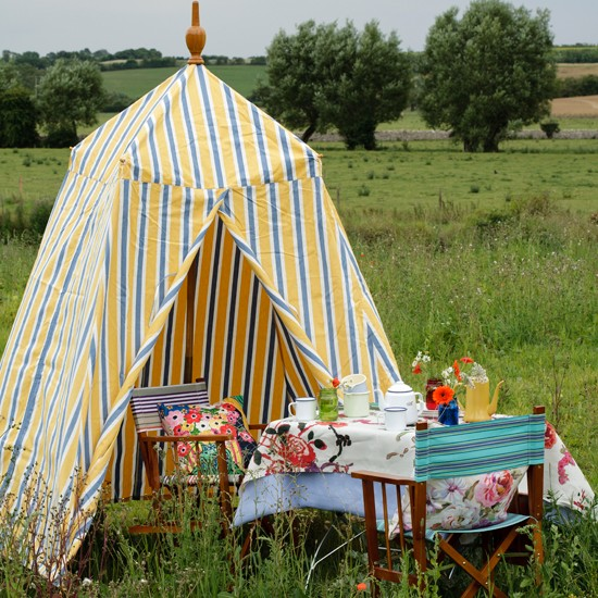 Picnic table with striped tent | Country garden design ideas | Garden | PHOTO GALLERY | Housetohome.co.uk