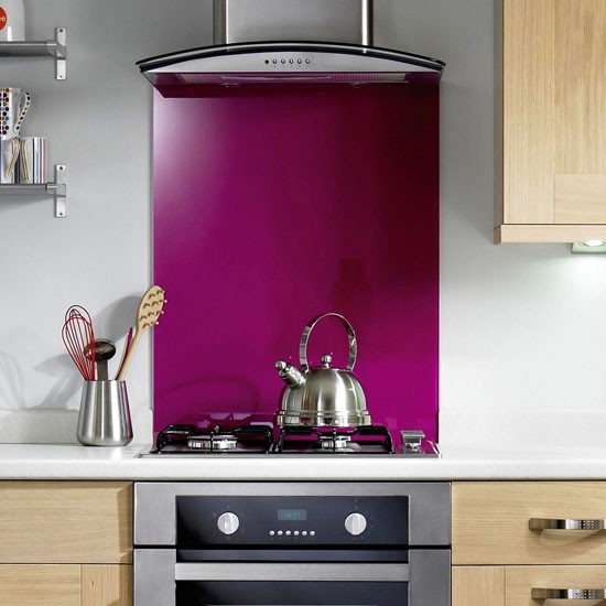 Glass fuchsia splashback from b q kitchen splashbacks for Kitchen tiles ideas b q