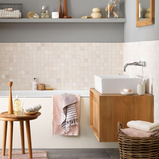 Calm bathroom with muted tones | Coastal-inspired decorating ideas | Ideal Home | Housetohome