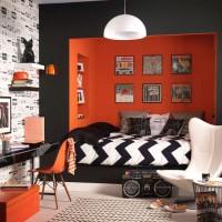 Orange and monochrome bedroom
