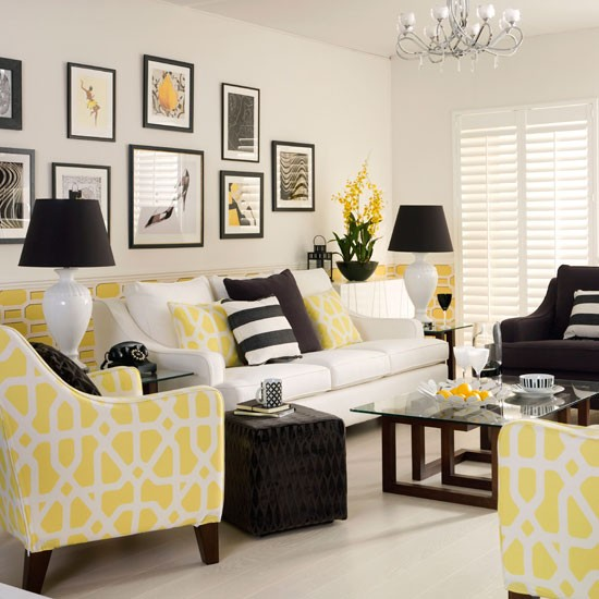 Yellow monochrome living room decorating with monochrome for Yellow and grey living room ideas