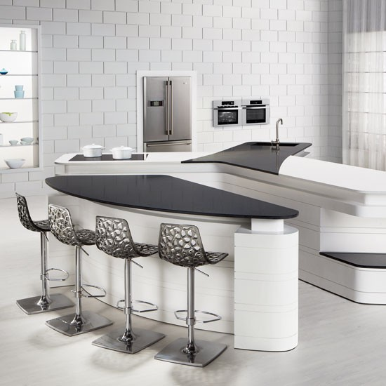 Modern White Kitchen With Curved Unit