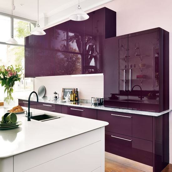 Purple and white kitchen  Gloss kitchens  Kitchen  PHOTO GALLERY