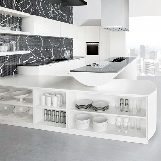 White Kitchen With Interesting Mosaic Splashback White