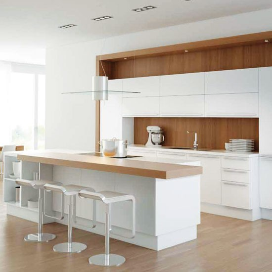 white kitchen with warming wood splashback white On white and wood kitchen