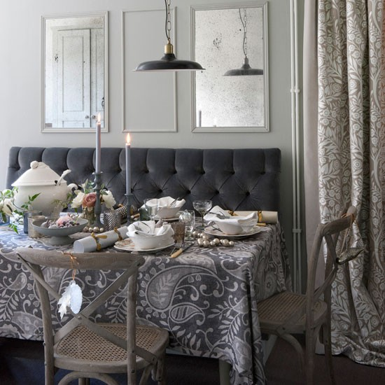 Classic grey Christmas dining room | Dining room | PHOTO GALLERY | Homes & Gardens | Housetohome.co.uk