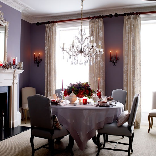Classic purple Christmas dining room | Dining room | PHOTO GALLERY | Homes & Gardens | Housetohome.co.uk