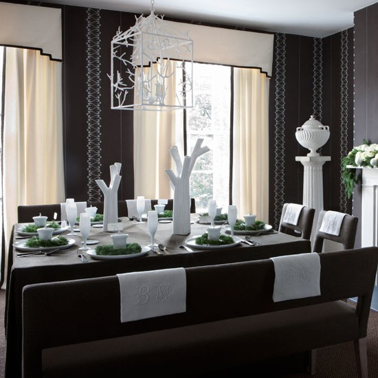 Provide plenty of seating christmas dining rooms for Dark grey dining room