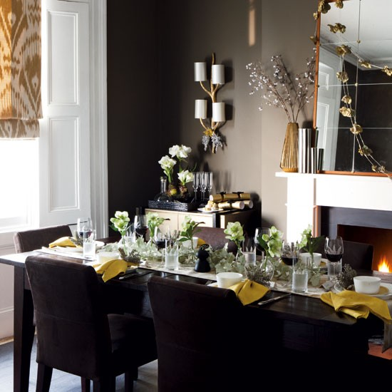 Dark grey and black Christmas dining room | Dining room | PHOTO GALLERY | Homes & Gardens | Housetohome.co.uk