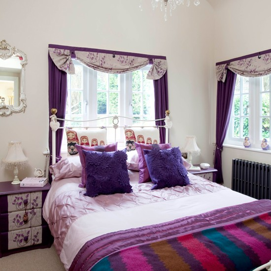 Purple Guest Bedroom Traditional Design Ideas