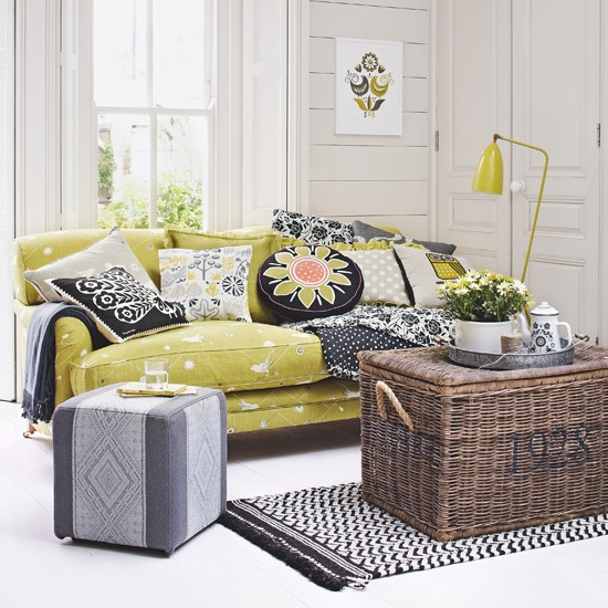 Citrus and grey living room | Country decorating ideas | Country Homes & Interiors | Housetohome