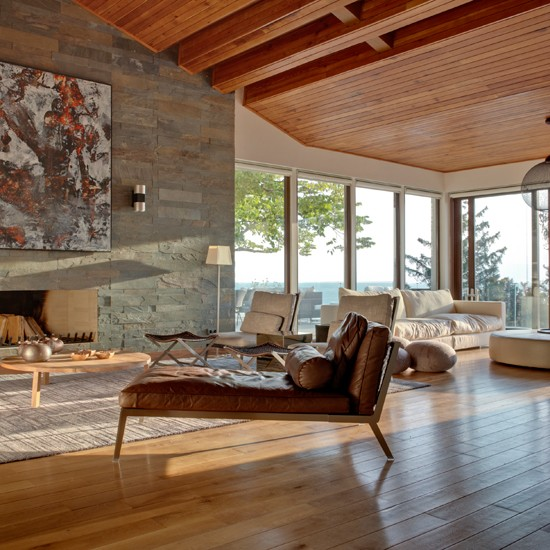 Stone And Wood Living Room Modern Decorating Ideas