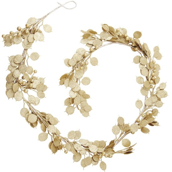 Winter woodland gold effect garland from b q christmas