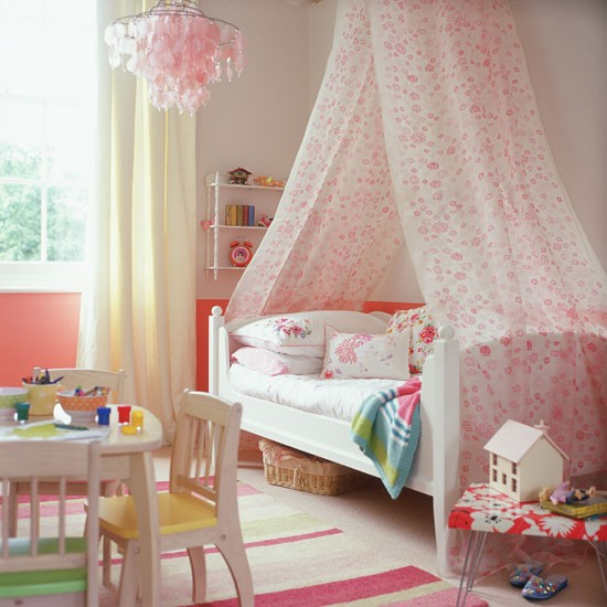 cream and pink child's bedroom with floral bed canopy | Bedroom ...