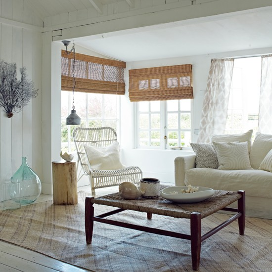 White Coastal Living Room Coastal Decorating Ideas