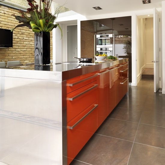 Orange gloss kitchen island Beautiful Kitchens Housetohome jpg