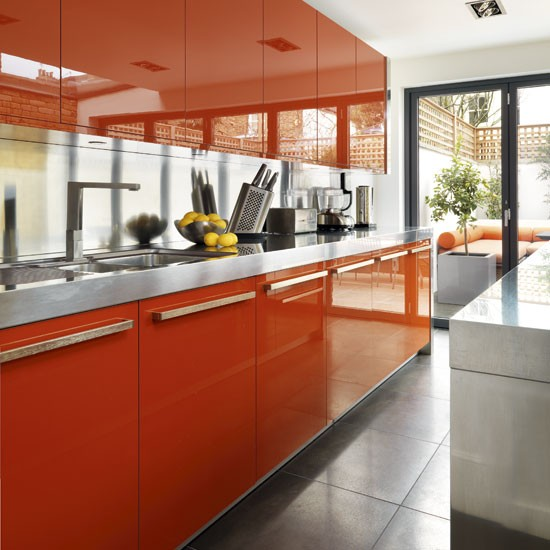 Wall units be inspired by a bold chocolate and orange for Gloss kitchen wall units