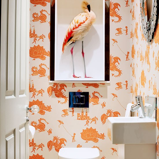Cloakroom with bold orange and white wallpaper modern wallpaper ideas 10 of the best - Decor wc ...