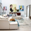 White living room with artwork