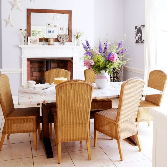 Choose rattan dining furniture country dining rooms for Dining room table with wicker chairs
