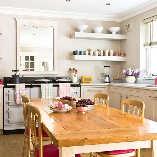 Neutral kitchen makeover with pops of pink | kitchen | makeover | PHOTO GALLERY | Ideal Home | Housetohome