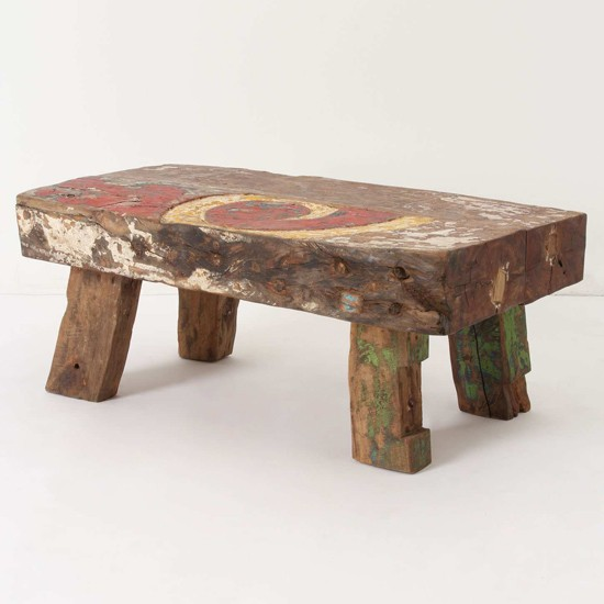 Reclaimed Boat Wood Coffee Table: Reclaimed Boat Coffee Table From Anthropology