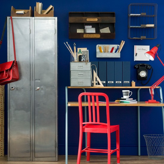 Royal blue home office | Home office decorating ideas | Ideal Home | Housetohome