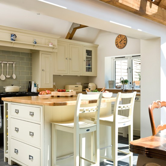 Cream Open-plan Kitchen With Large Island