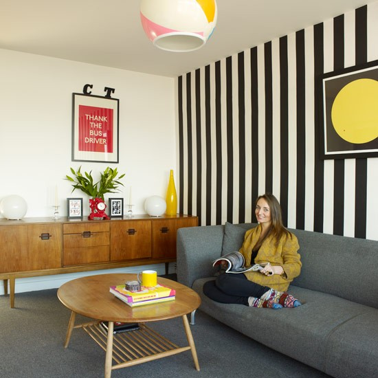 1970s inspired flat for 1970s living room interior design