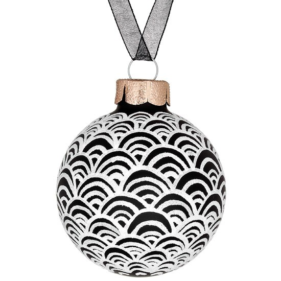 scallop black bauble from john lewis christmas tree. Black Bedroom Furniture Sets. Home Design Ideas