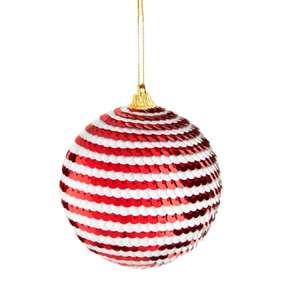 Red White Sequin Bauble From Poundland Christmas Tree