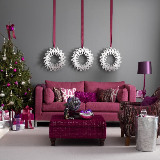 Smart raspberry and grey Christmas living room | Christmas living room decorating ideas | PHOTO GALLERY | Ideal Home | Housetohome