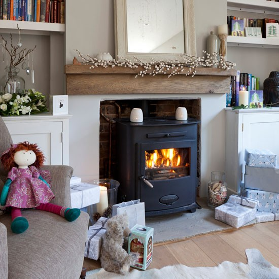 Neutral Living Room With Woodburner Cosy Living Room Design Ideas