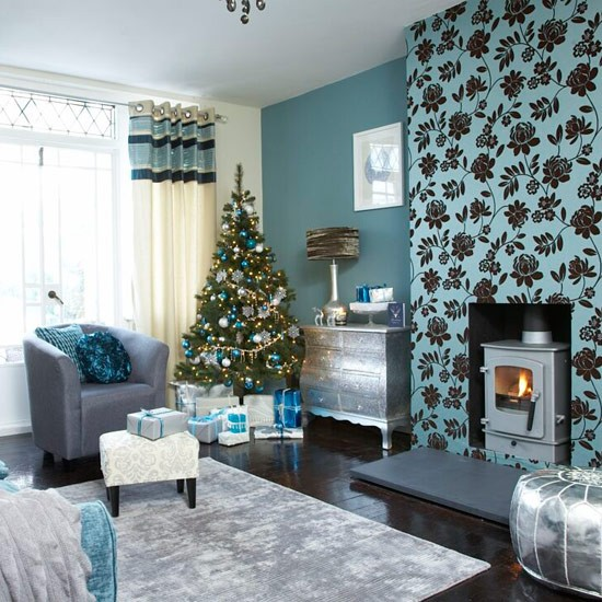 How to decorate your living room with festive teal and silver