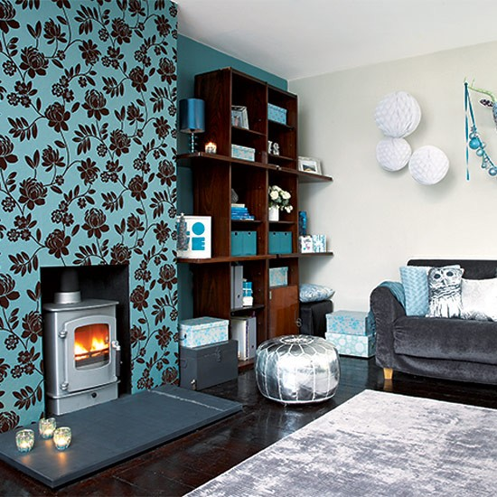 Be bold with pattern festive teal and silver living room for Grey silver wallpaper living room