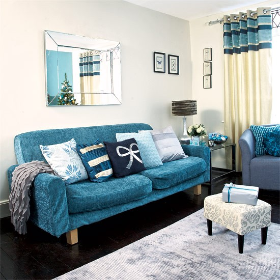 Recover your sofa | Festive teal and silver living room scheme ...