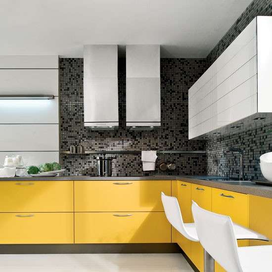 modern yellow and grey l shaped kitchen l shaped kitchen design