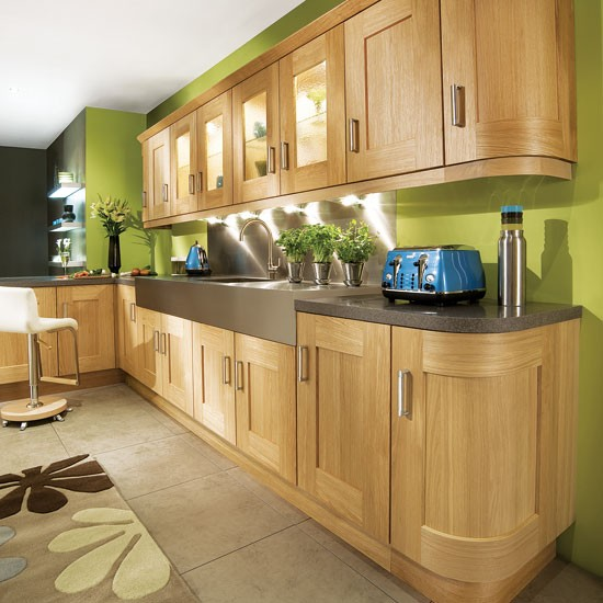 Lime green L shaped kitchen  Kitchen design ideas  PHOTO GALLERY