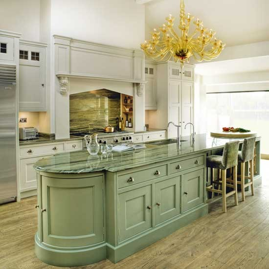 Sage green kitchen island for Kitchen cabinets green