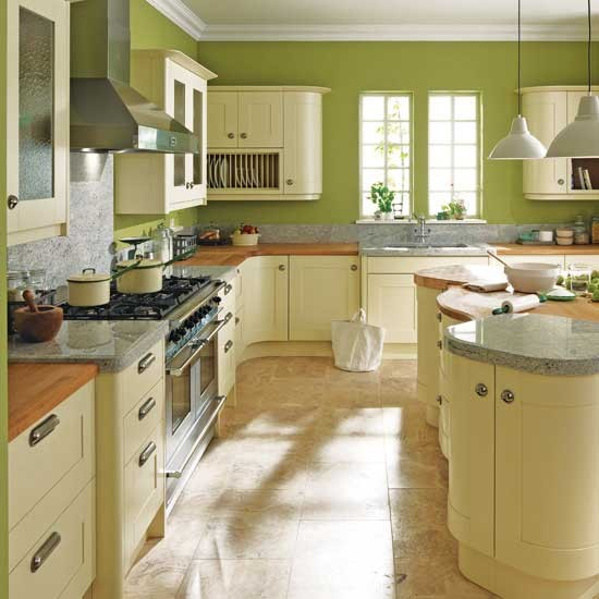 Bold green kitchen traditional kitchens for Best green paint for kitchen