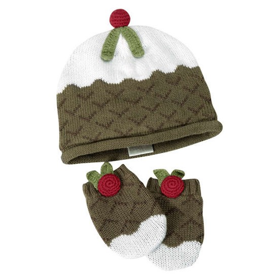 Knitting Pattern Christmas Pudding Hat Baby : Knit pudding hat & mitts from Mamas & Papas Christmas gifts for bab...