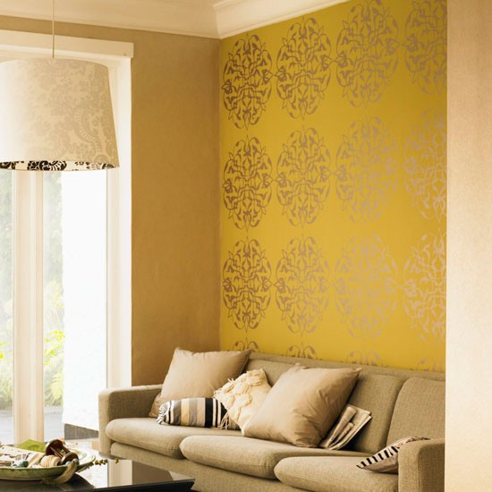 Image gallery modern wallpaper designs uk for Yellow living room wallpaper