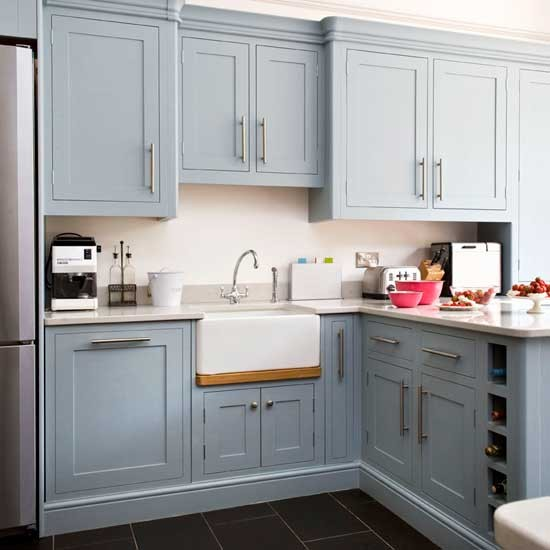 Blue And Gray Kitchen Design