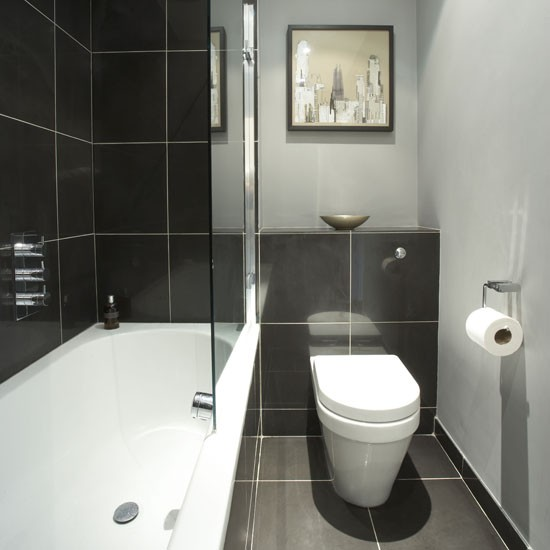 Tiny bathrooms small bathroom design ideas housetohome for Monochrome bathroom designs
