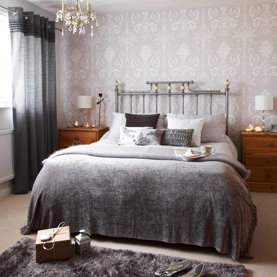 Silver bedroom take a tour around lisa 39 s christmas home for Grey wallpaper bedroom
