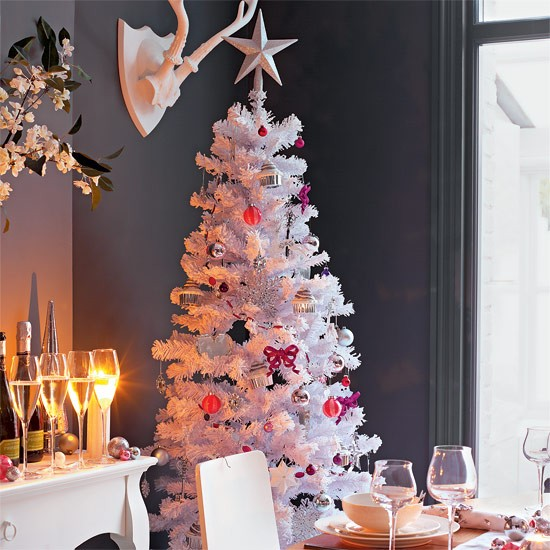 White Christmas tree | dining room | PHOTO GALLERY | Style at Home | Housetohome