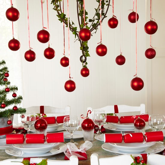 Festive Table Setting With Hanging Red Baubles Christmas